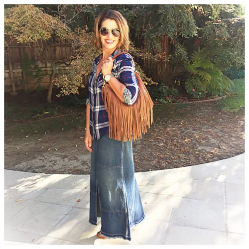 Styling Up Plaid and Denim, With a Bit of Fringe
