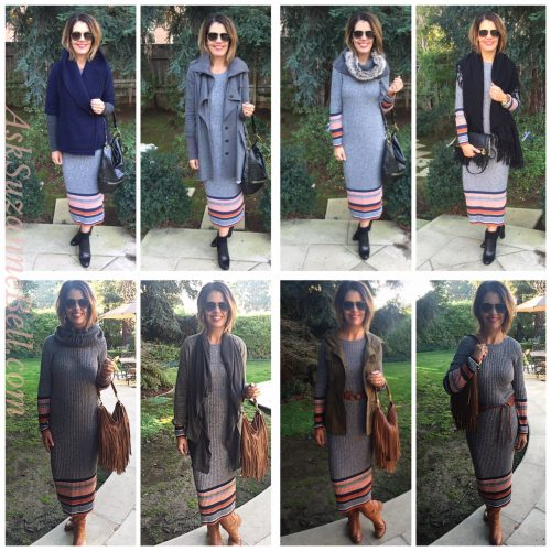 Achieving a Workable Wardrobe|One Sweater Dress, Eight Ways