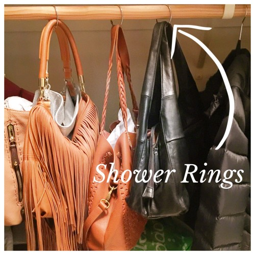 Use shower rings to hang handbags where you can see them | closet organizing on AskSuzanneBell.com