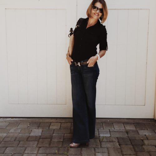 Caslon Tee and Paul Green lace up sandals via Nordstrom