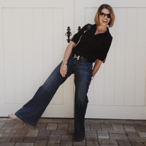 Caslon tee and wide leg jeans