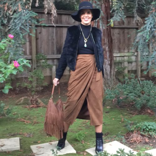 Vintage Remix on AskSuzanneBell: Fur bomber and leather skirt