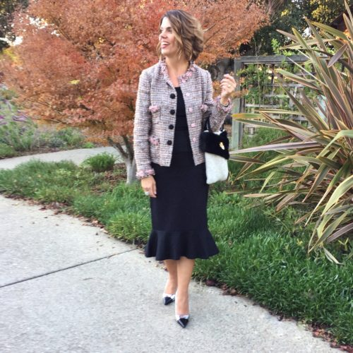 Holiday Outfit Ideas: Fluted black skirt with tweed jacket
