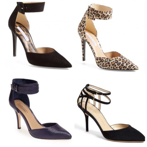 from top left, clockwise:  DVF $350 |Charlotte Olympia $895 | BCBG $275