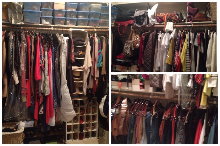 My closet before I started the big clean-out. Clearly it was in need of some TLC.  started this process at 11am and was done by 2:45pm.  During this time I turned off the phone and powered through.