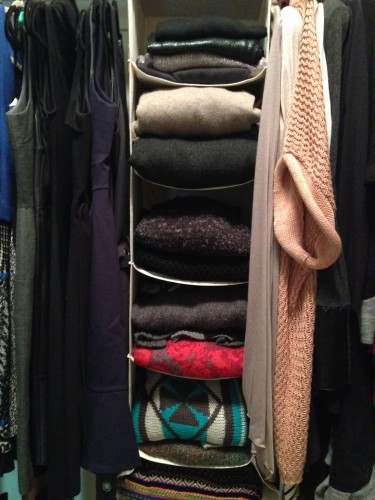 "I like to fold my chunky sweaters and sweater coats. 1) they take up way to much room in the closet when hung 2) when hung, they ""grow"" and lose their shape."