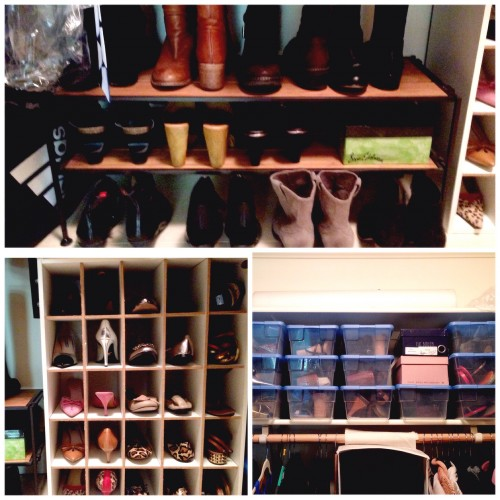 I like to see all my in season shoes. I stack my boots and bootie on a shoe rack from Costco.  My pumps and flats fit into shoe dividers from Target.  My off-season and party shoes are stored in clear shoe boxes on an upper shelf in the event of a heat wave or special occasion.  I can still see them, but they are out of the way of daily use.