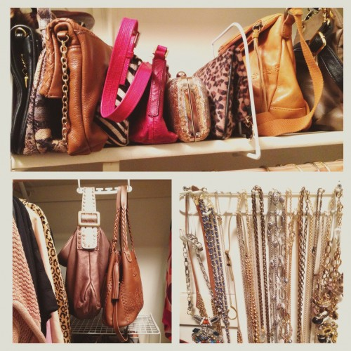 I use shelf dividers to make my clutches and handbags line up and stay put. Available at the Container Store. I have a little foldable foot stool in my closet to easily reach these higher items when I need them.