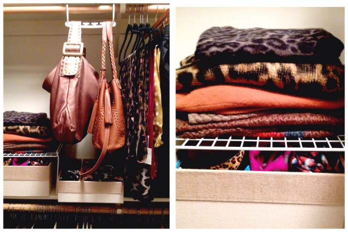 I like to fold my favorite large scarves on a shelf for easy viewing.  My belts are rolled in the box under the handbags so they will not get tangled.  I hang my favorite bags for easy access everyday. My special bags are stored up on a higher shelf with dust bags to keep them clean.
