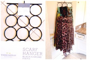 I find I wear my stuff when I can see it. This scarf hanger allows me to see what I own at a glance for easy accessorizing!