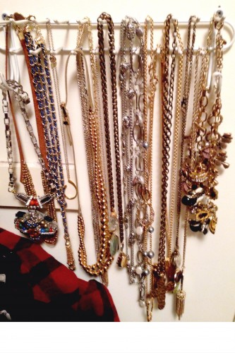 Long necklaces are always tangled! Try hanging them in your closet using a belt hook hanger | Target