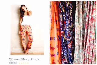 Vicuna Sleep Pants by Eloise $49.50.  I love all the fun patterns, they make me happy!