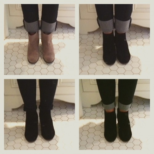 Top row: booties with straight leg jeans Bottom row: booties with skinny jeans, 2 ways