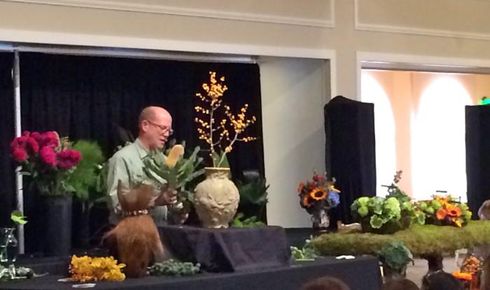 David creating a tropical arrangement