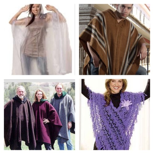 Not the poncho we are talking about here! Photos via Pinterest , from top left clockwise: Rain poncho HERE, Navajo poncho HERE, purple crochet poncho HERE, folks in some really cold area where you need to rear a very heavy blanket HERE