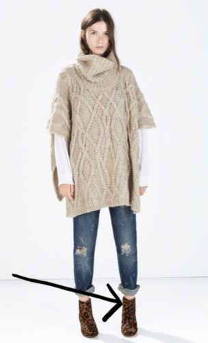 Great chunky knit poncho from Zara. I love the color,  texture and price!  How cute is the model in her rolled up jeans and booties? HERE
