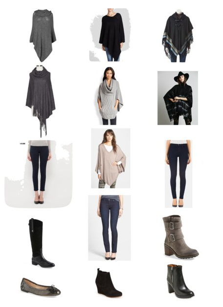 Easy pant/shoe combos that work well with ponchos and oversized sweaters. For links to items above click HERE for my polyvore set.