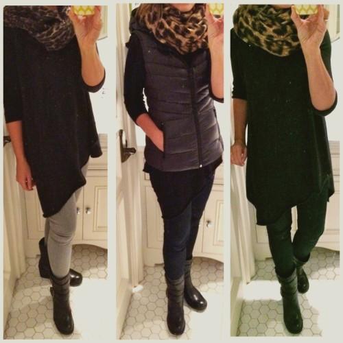 Left to right:  tunic and boot same in all photos AG legging jean in gray, RL gray leopard infinity scarf AG legging jean, Bernardo puffer vest, Michael Kors leopard infinity scarf Same as above, no puffer