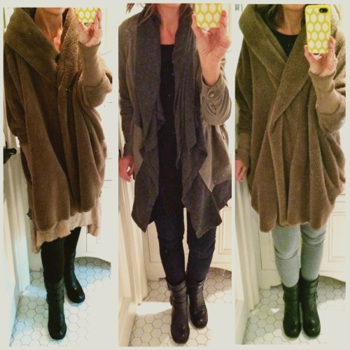 Left to right: boot Sam Edelman Nanako layered dress and fleece coat | Hue leggings  Neiman Marcus cashmere asymetrical tunic | Ag legging jean | Anthropologie layered anorak Nanako fleece coat | AG legging jean in gray | NM asymetrical tunic sweater