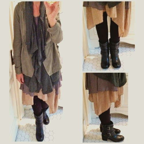 Layered dress, Nanako | Layered anorak, Anthropologie | Moto Boot Sam Edelman | Hue wide waistband legging