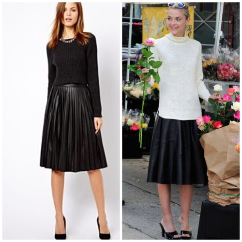 Pleated skirts with fitted knits.  Images via pinterest HERE, HERE