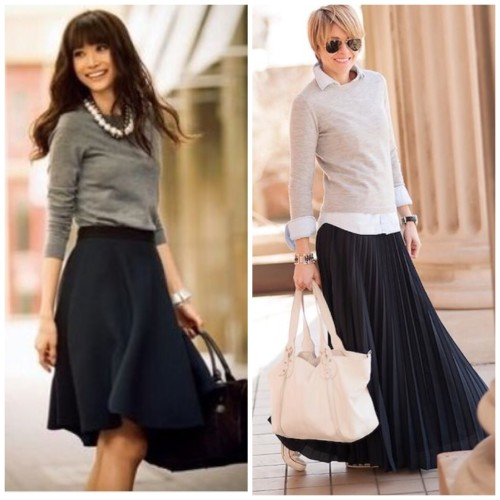 Pleated skirts with fitted knits. via Pinterest HERE, HERE