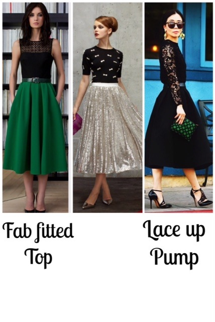Some fabulous ladies all dressed up in full skirts. via pinterest left to right HERE | HERE | HERE