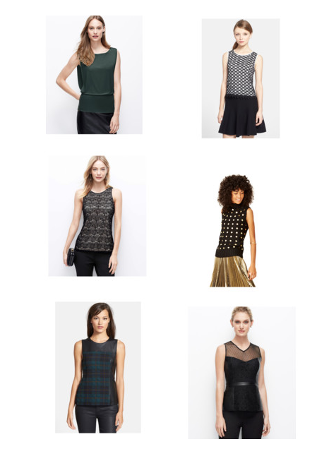 Great sleeveless top options for full skirts. For the full Polyvore set click HERE