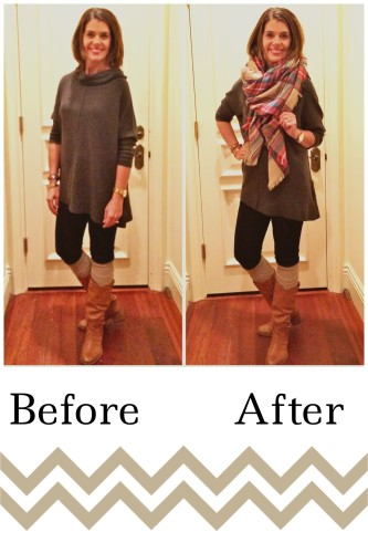 Scarves; before and after