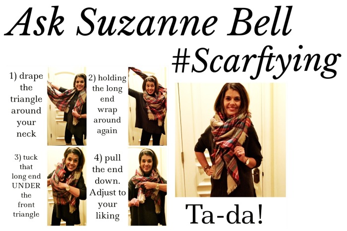 How to tie a scarf via www.asksuzannebell.com