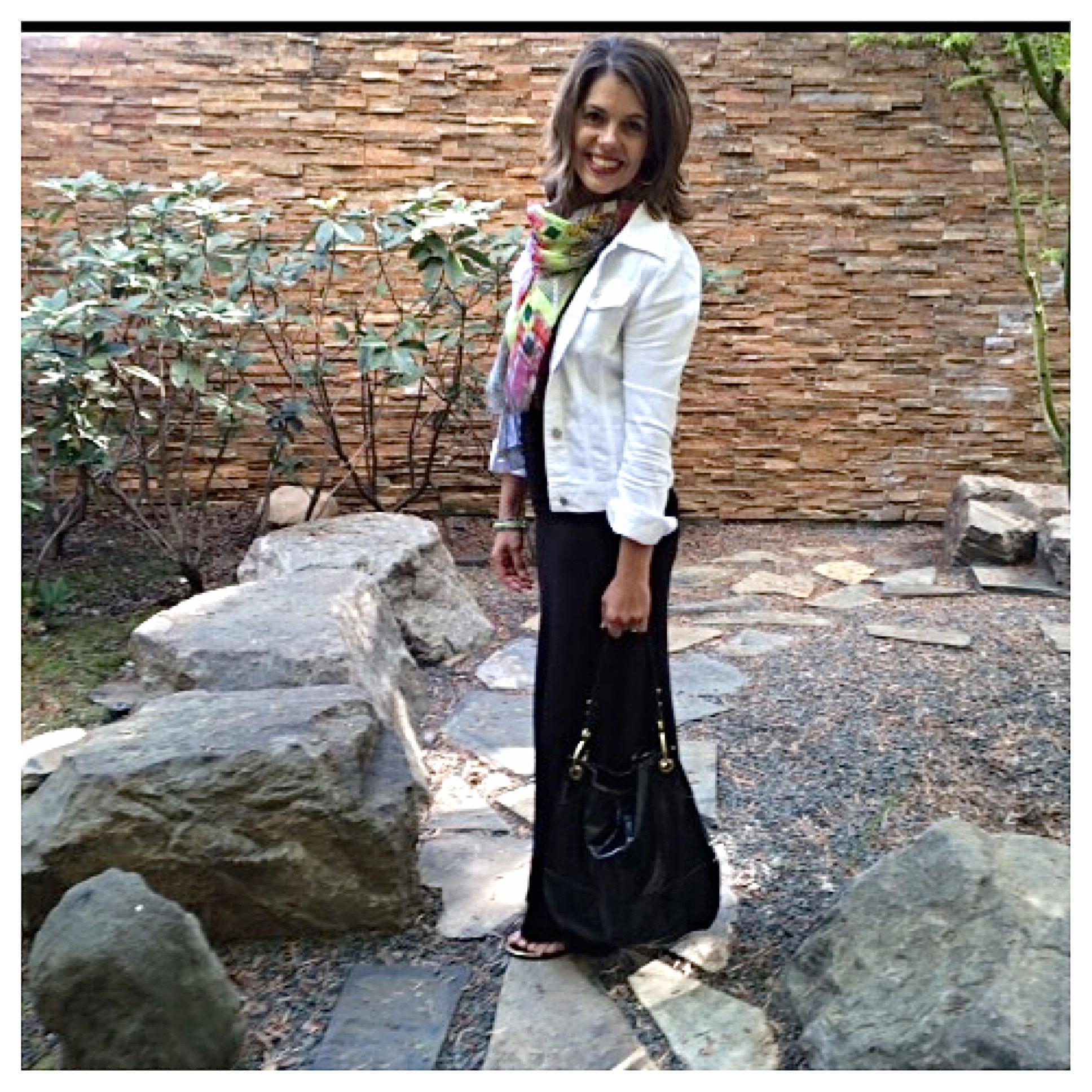 056469ceaab4 Black Maxi Dress + Denim Jacket - Cyndi Spivey