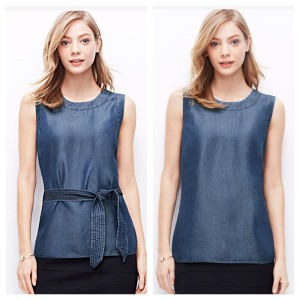 Ann Taylor chambray belted top