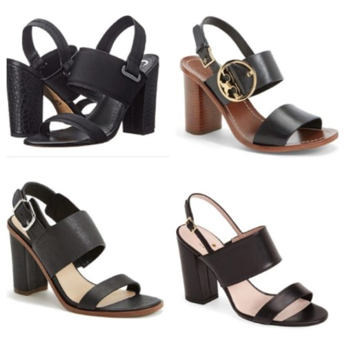 Dual strap slingback block heel sandal looks on AskSuzanneBell.com