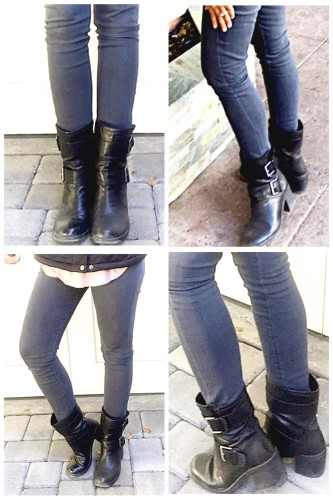 What I Wore: Casual Weekend Outfit featuring grey skinny jeans and moto boots | www.AskSuzanneBell.com