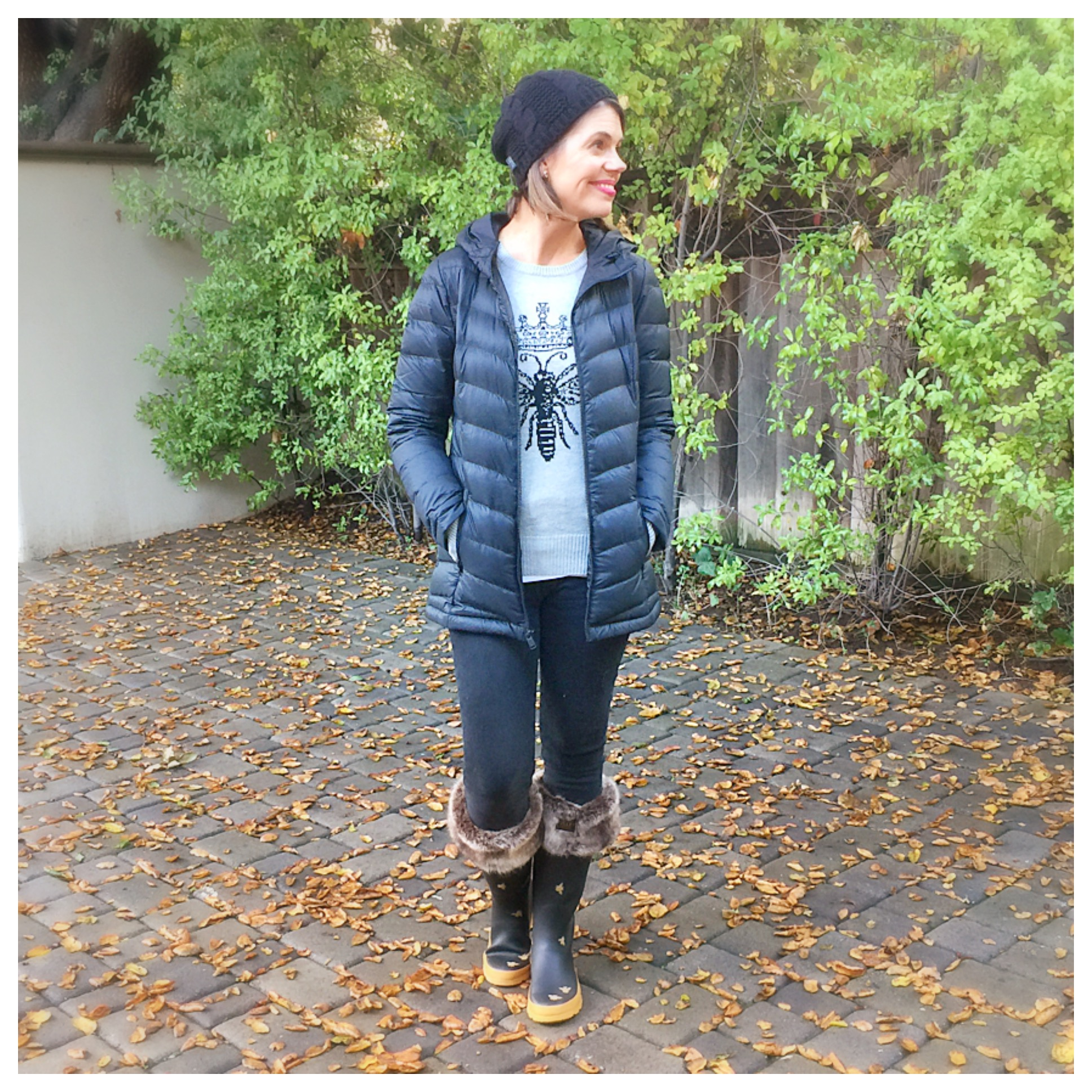 Large Joules Black Frida Welly Socks Faux Fur Black Med UK Small