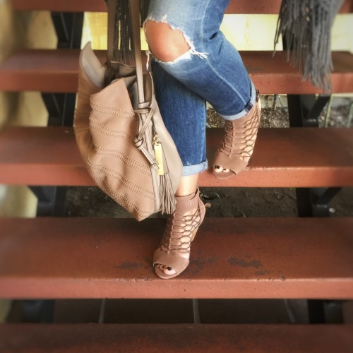 5d87d909f2fd ... Vince Camuto  Evel  Sandal. What I Wore  Fringe Poncho and Boyfriend  Jeans
