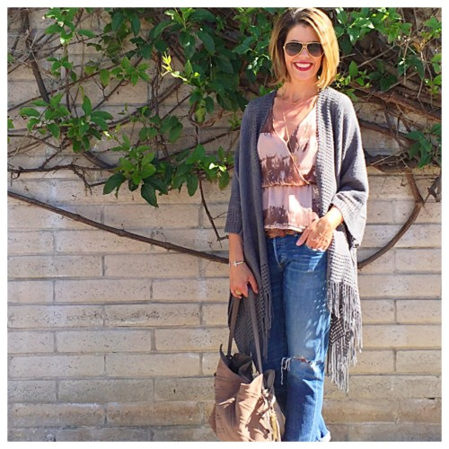 What I Wore: Boyfriend Jeans and Fringe Kimono