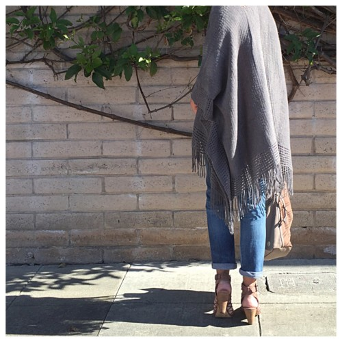 What I Wore: Fringe Poncho and Boyfriend Jeans