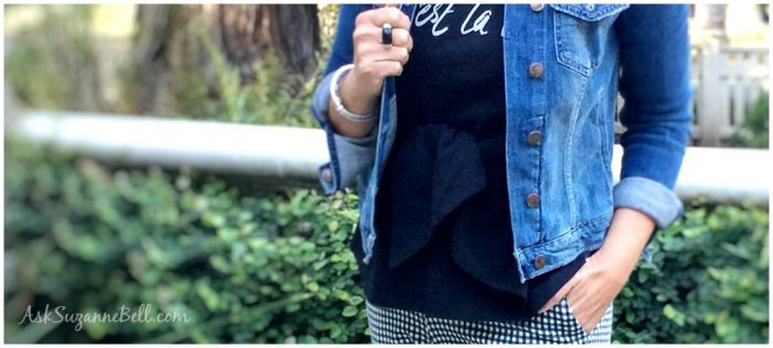 Easy Spring Style: Gingham Pant + Graphic Tee + Denim Jacket