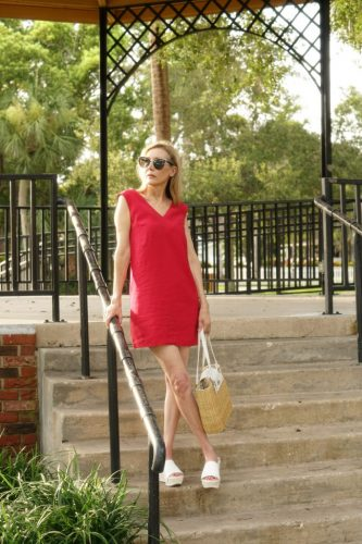red summer dress look