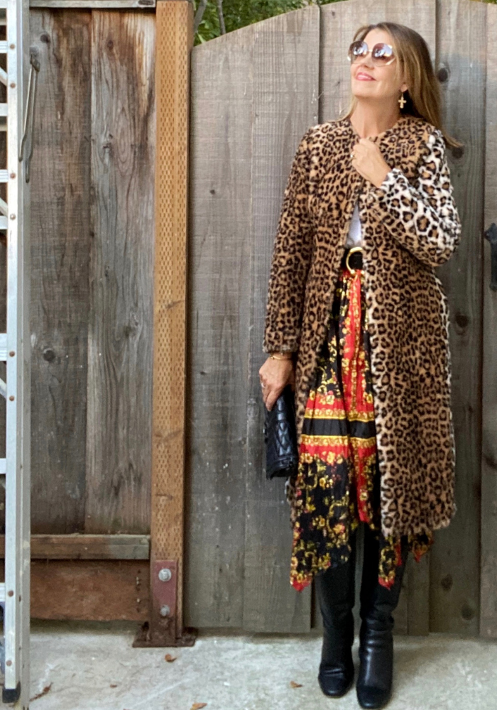 Faux Fur Animal Print Coat